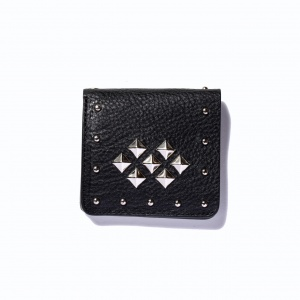Leather studs short wallet