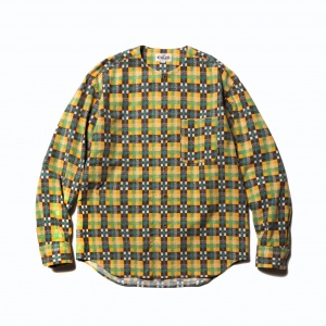 No collar check L/S shirt