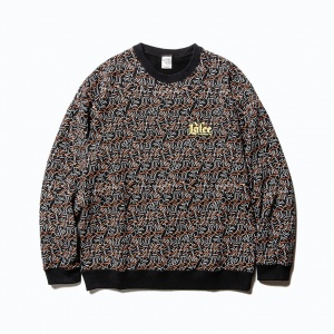 Allover pattern crew neck sweat shirt