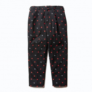 Allover embroidery heart pattern cropped pants