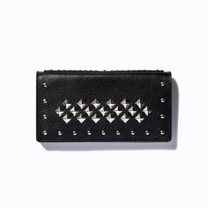 Leather studs long wallet