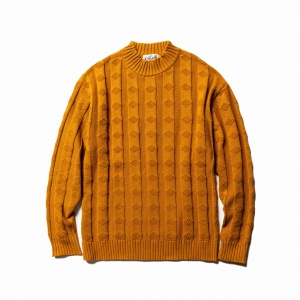 Mock neck jacquard knit sweater