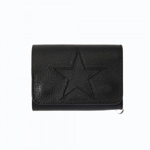 Cutting star leather half wallet