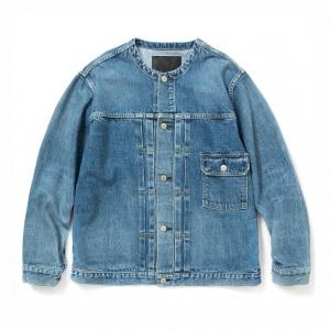 1st type no collar used denim jacket