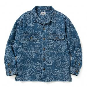 Rose pattern Jacquard denim shirt jacket