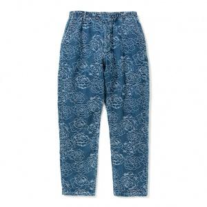 Rose pattern Jacquard denim tapered pants