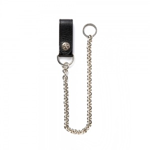 Silver star concho leather wallet chain