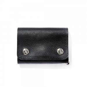 Silver star concho flap leather half wallet
