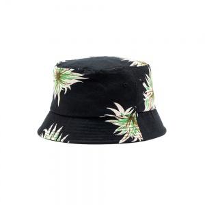 Allover flower pattern linen bucket hat