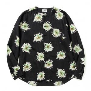 Allover flower pattern linen no collar L/S shirt