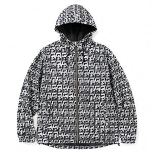 Allover monogram pattern hooded jacket