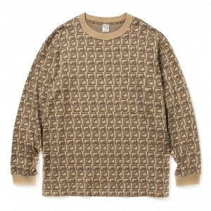 Allover monogram pattern drop shoulder L/S t-shirt
