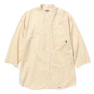 Band collar 3/4 sleeve twill shirt