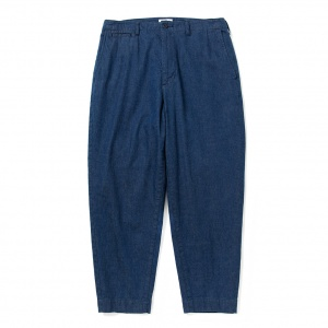 Tapered wide denim chino pants