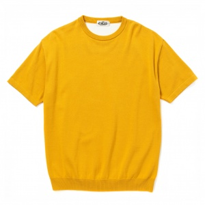 Drop shoulder S/S crew neck knit sweater