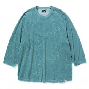 Spiral pattern pile jacquard 3/4 raglan sleeve t-shirt