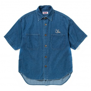 Drop shoulder used denim S/S embroidery shirt
