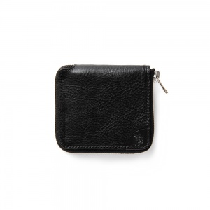 Logo embossing leather round zip short wallet