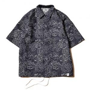 Rose pattern Jacquard denim S/S shirt jacket