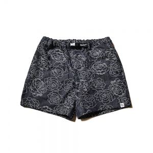 Rose pattern Jacquard denim short pants
