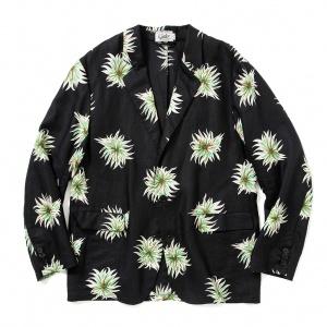 Allover flower pattern linen jacket
