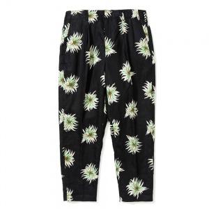 Allover flower pattern linen cropped slacks