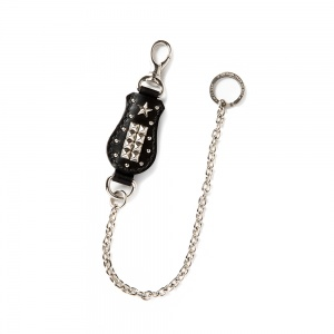 Studs leather wallet chain