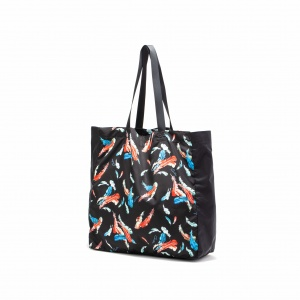 Feather pattern tote bag <Large>