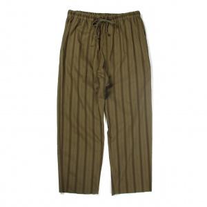 Leno cloth stripe cutoff relax pants
