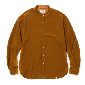 Tricot knit 4way stretch band collar L/S shirt