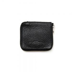 Round zip calee logo embossing  mini wallet