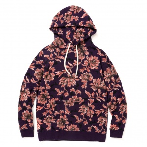 Allover flower pattern pullover parka