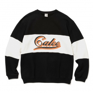Calee logo contrasting fabric crew neck sweat