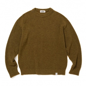7 Gauge crew neck boucle knit sweater